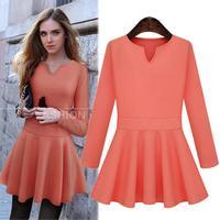 2014 European Fitness Mini Ruffles Vestidos Femininos Brief Plus Size Solid Long Sleeve Autumn Dress 29