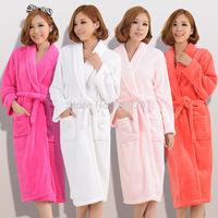 B Hot Winter Women Men Thick Flannel Warm Coral Fleece Night-robe Bath Salon Long Robe Sleepwear Long Sleeve Pajamas