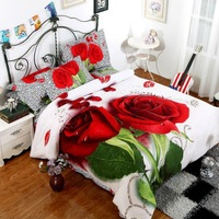 New Beautiful 100% Cotton 4pc Doona Duvet QUILT Cover Set bedding set Full / Queen / King size 4pcs flower white red green rose