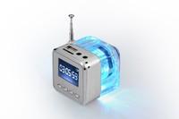 Nizhi TT-028 Speaker Mini Portable LCD Crystal LED Loundspeaker Subwoofer Micro SD Card FM Radio Music Speakers  ZKT