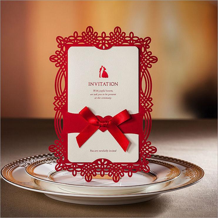 Grátis frete chinês red fita de corte a laser de papel de alta qualidade novo design cartões do convite do casamento fornecedor(China (Mainland))