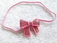 60pcs/lot Baby Elastic thin headbands with Mini Sequins bow  Photo Props