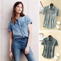 FanShou Free Shipping 2014 Women Blouse Spring Summer Jeans Demin Shirts Short Sleeve Turn-down Collar Casual Shirts Blusas 4924