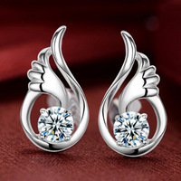 Brand New ,Top Quality ,S925 Sterling Silver ,Four Claws Plate 1carat  Pure Swiss CZ Diamond Women Stud Earrings,free shipping