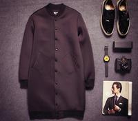 NEW fashion HOT SALE!! European style structured men long neoprene casual outdoor winter baseball jacket coat N15076