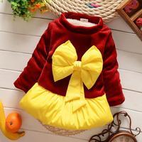 4pc/lot girls dress thicken winter high quality kids dresses fleece big bow girls clothing children factory PANYA SYF01