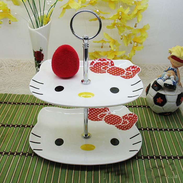 Olá Kitty de cerâmica bandeja duas camadas de frutas e lanche bandeja decoração do olá Kitty prato(China (Mainland))