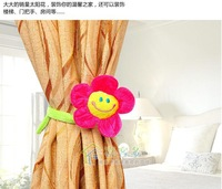 wholesale 8 PCS Lovely Sunflower Smile Face Buckle Curtain Tie Backs free shipping