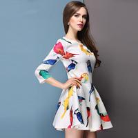 winter Spring 2014 women's dress newest dress spring models Floral Dress bird dress casual vestidos casual free shipping women