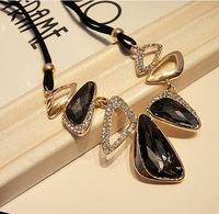 cxt93646 High Quality  Necklace Brand Rope Chains Geometric Vintage Rhinestone Pendants Collar  Statement