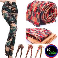 Autumn Winter 2014 New Womens Trousers Retro Floral Slim Leggings Fashion Thick warm pants Elastic Waist Pencil Pant For Woman