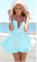 The latest Brazilian beach dress sling former U-sexy big swing dress vestido casual dress