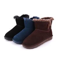 new arrival 2014 Winter women leather boots Fashion Cozy Warm&Black Brown Blue size 22cm-24.5cm Dead end Decoration L2409