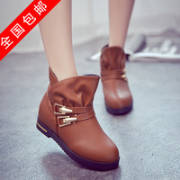women autumn boots and winter casual round toe low heel female shoes ankle boots heels lace up for girl lady sapatos femininos