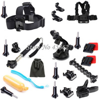 GoPro Accessories Handheld Monopod +Jaws Flex Clamp Mount Chest/Head Neck Mounts Accessories kit for Gopro Hero4 Hero 4 3+