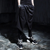 Free shipping 2014 new faux lacing dress two piece casual western-style trousers costume gothic mens culottes boot cut jeans