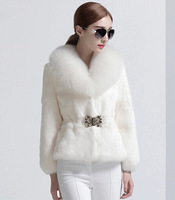 2014-2015 100% Genuine real  fur rabbit fur coat fox fur collar Waistband free shipping
