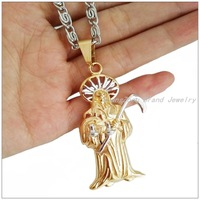 """New Arrive Fashion Mens Silver Gold 316L Stainless Steel Pendant with 23.6"""" Chain Necklaces,Best Quality Lowest Price"""