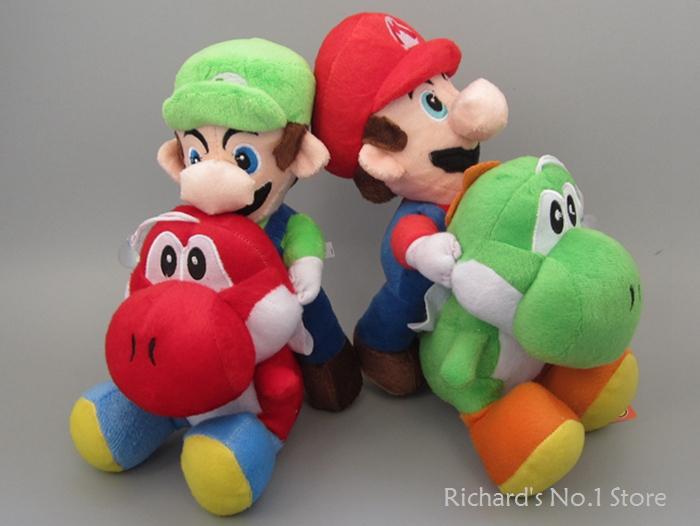 EMS 50sets(1set=2pcs) Super Mario Bros Plush 27cm Mario Riding Yoshi Plush Doll Luigi Riding Yoshi Plush Toy(China (Mainland))