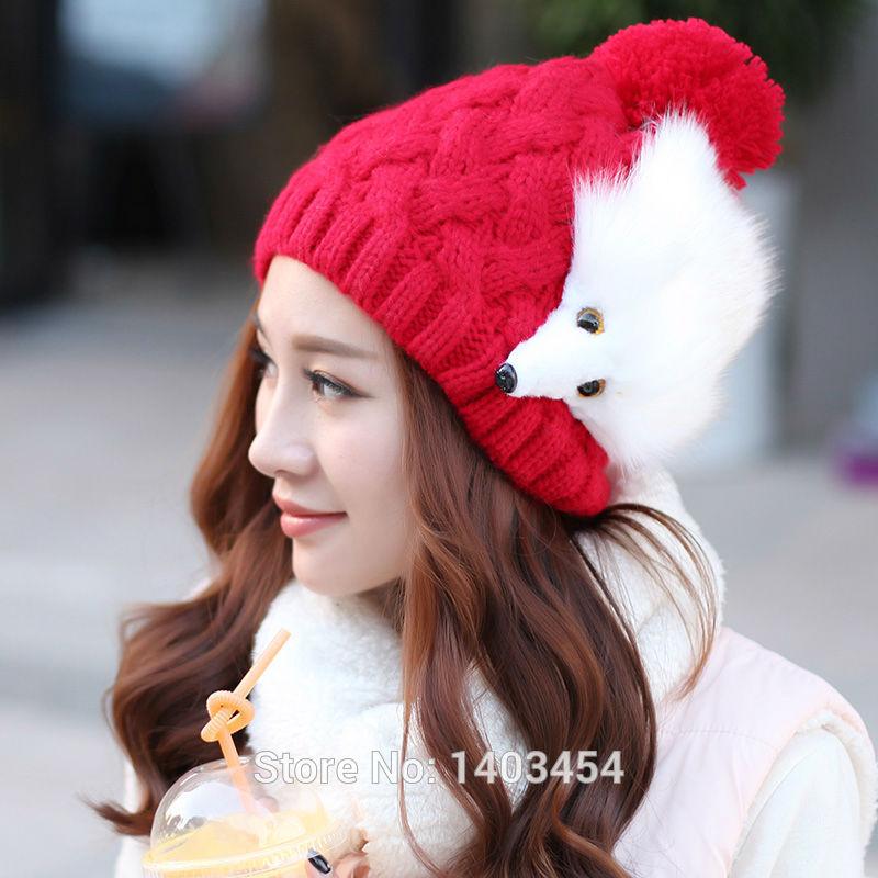 Renk 1 adet ücretsiz nakliye modanın yeni hayvan tilki bere şapka