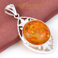 Free shipping --Round Amber Leave Shape Pendant For Women&Men  925 sterling silver jewelry Gift