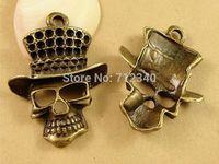 20Pcs Halloween Skull Charms Pendant Antiuqe Bronze Tone DIY Jewelry Making