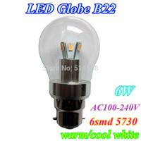 New model LED Bulb B22 6W AC100-240V SMD5730 6leds Dimmable LED Light lamp Bulb Cool/Warm White 10pcs/lo free shippingt