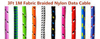 Cable for iPhone 6 USB Charger Data Sync Cable Braided Wire Cloth Woven 1M 3Ft Colorful Cord Lead for iPhone 5 5S 5C iOS 8 7.1.2