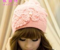 Hot Selling Flower Pearl Rabbit Hair Beanies Knitted Cap - Lady Set of Head Cap - Lovely Women Wool Hat  2131-6033
