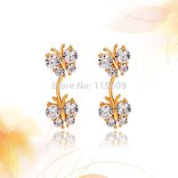 Fashion wedding double butterflies earrings for girls brand statement jewelry wholesale women accessories