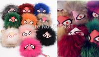 Popular Real Fur Monster Brand Bag Design Fox Fur Monster Face Strap Bag Charms
