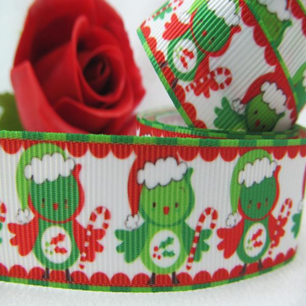 Oem 7/8 '' 22 mm férias impresso pássaro do natal fita de gorgorão DIY Bowtique Webbing acessório 50 Yrds / roll grátis frete 016(China (Mainland))