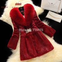 2014 New Designer Long sections women winter 100% rabbit fur coat natural with fox fur collar Jackets fur coats with rabbit