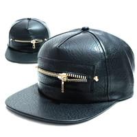 2014 NEW  Black PU Leather Baseball Cap Hip Hop caps  zipper Snapback Hat For Men women  wholesale