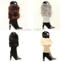 2014 New Arrival Warm Imitation Rabbit Faux Fur Women Girls Leg Warmers Ladies Winter Boots Socks Rhinestone Decoration