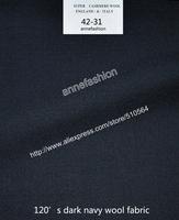 2015-Free shipping four season 120's dark navy wool fabric