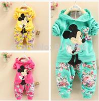 Free shipping retail 2014 fashion baby clothing kids cotton mickey infant velvet clothing set girls/boys coas+pants suit set