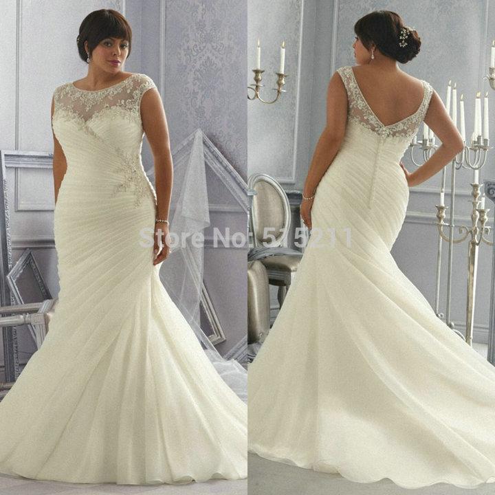 Plus Size Long Sleeve Mermaid Wedding Dresses : Aliexpress buy white lace sweetheart mermaid wedding