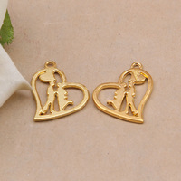 Free Shipping 24K Gold Plated Heart Charms,10pcs/lot DIY Lover charms,Charms for jewelry making XBL738
