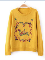 Stylish 4 Colors Girl Sweet Sweaters Winter Long Sleeve O Neck Flowers and Birds Embroidery Lady Pullovers YS93809