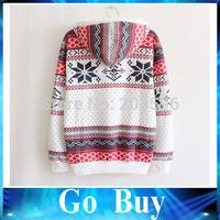 Free shipping YF0707 Sport Christmas Pattern Pullover Printed Sweatshirt Women Hoody Fleece Warm Long Sleeve Hoodies Tracksuit