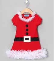 1pcs/lot new short sleeve Lace beautiful red Girls Christmas dress red Christmas pary dress J29 free shipping 5size 80-120cm