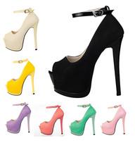Hot 7 colors Flock Upper Women fashion sandals High Platform Size34-38 Peep Toe Women pumps free shipping