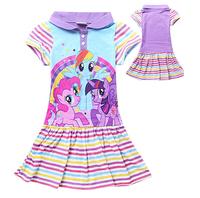 Free shipping baby clothing children girls girl My little pony dress  summer dress stripe cotton dresses