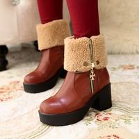 Plush Women Motorcycle Boots 2014 Winter Two Ways Side Zipper Thick Heel Medium-Leg Platform Snow Boots For Women Shoes