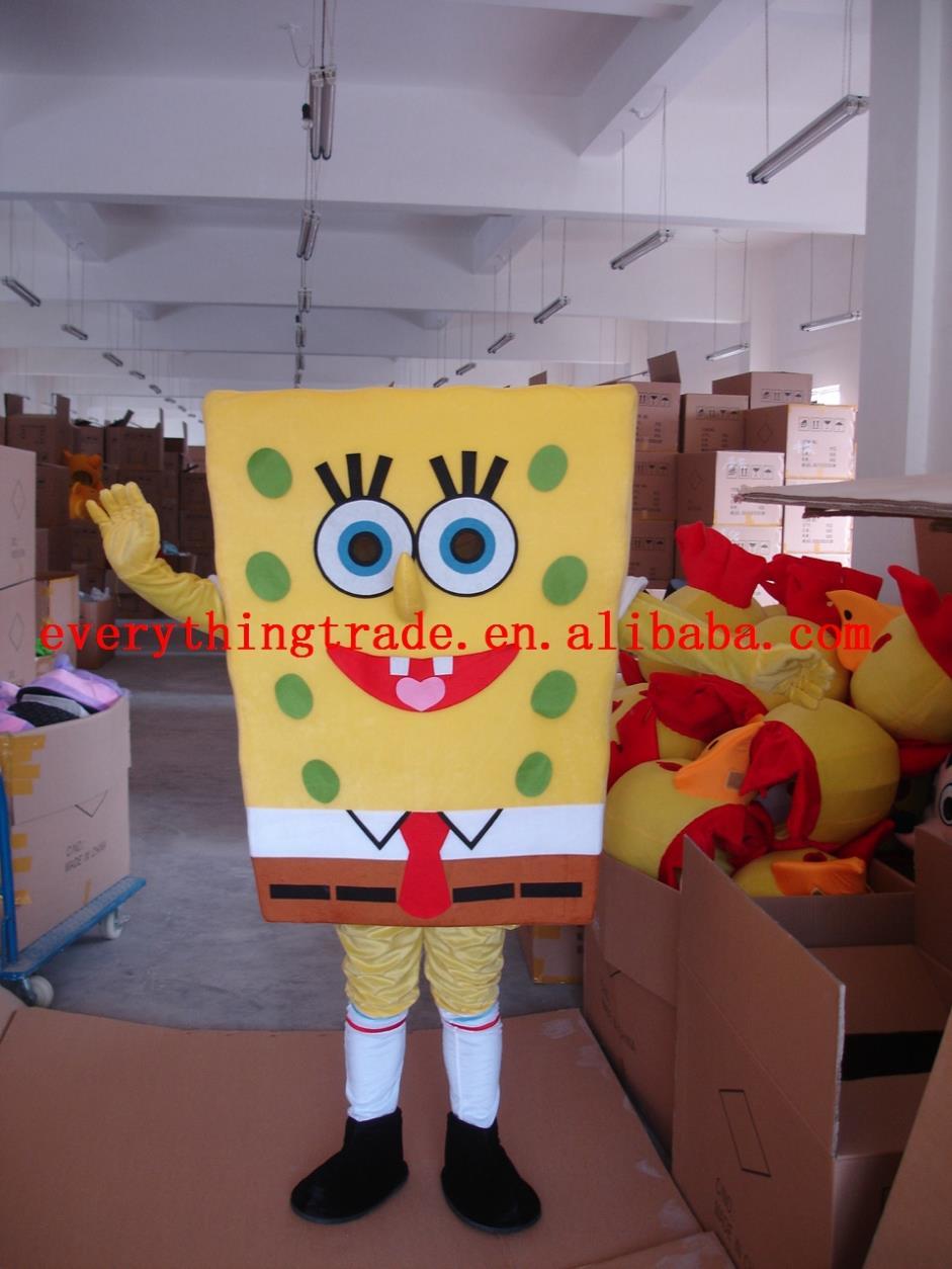 New arrival 2014 Adult cartoon character cute Spongebob Mascot Costume Halloween party costumes(China (Mainland))