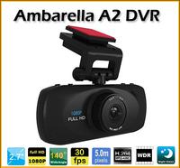 "Ambarella A2 Car DVR 1920*1080P+2.7""+HD+16G memory SD card+Wide Angle 140 Degrees high definition Car Camera"
