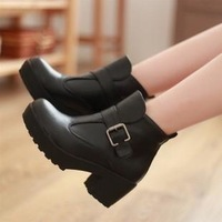 2014 Women's Fashion shoes with the belt buckle boots Martin ankle boots size 35-39 pu leather Motorcycle boots