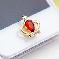 2014 wholesale Cute Bling Rhinestone Crystal Crown Phone Home Return Keys Buttons Sticker for Iphone 4s 5 Ipod Touch Ipad red