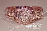 Hot Sale Gold Silver Women Rhinestone Wristwatches Lady Fashion Full Diamond Bling Steel Quartz Dress Watch Free Shipping
